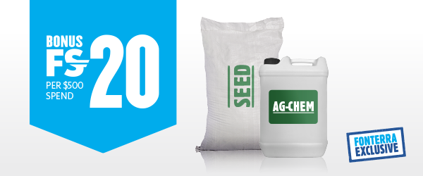Spend $500 on seed and/or agchem and get 20 Bonus Farm Source Reward Dollars Terms and Conditions