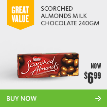 Scorched almonds milk chocolate 240gm